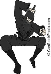 ninja jumping illustration