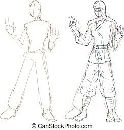 ninja sketch illustration