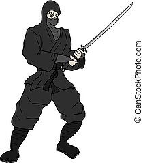 ninja with katana illustration - Creative design of ninja...