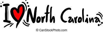Creative design of North Carolina love