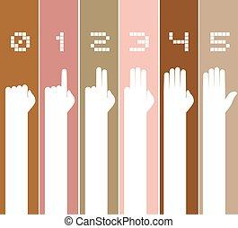 numbers hands set illustration