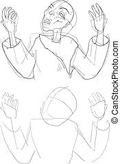 old man sketch draw