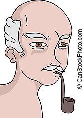 old man smoking draw