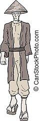 old oriental man walking