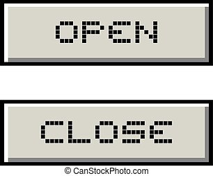 open and close retro buttons