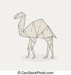 origami camel illustration hand draw