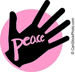 pink hand peace icon