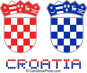 red and blue Croatia emblems - Creative design of red and...