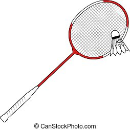 red badminton racket - Creative design of red badminton...