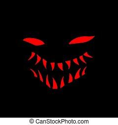 red face in dark