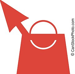 red shopping bag cursor icon