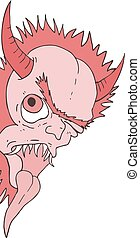 red ugly demon face - Creative design of red ugly demon face