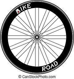 Road bike wheel illustration