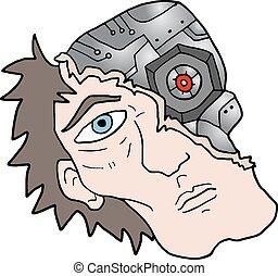 Robot face man