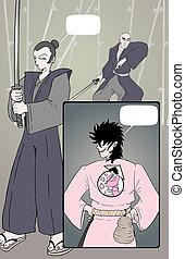 samurai comic page draw