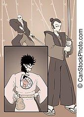 samurai comic page illustration