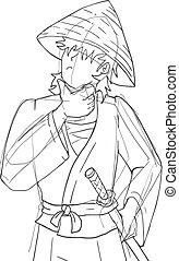 samurai draw sketch