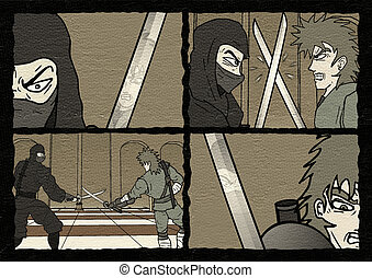 samurai duel comic scene