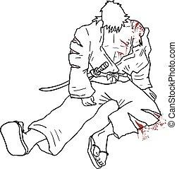 samurai wounded vector illustration