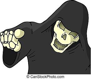 skull pointing draw