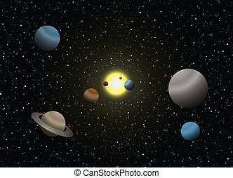 Creative design of solar system illustration