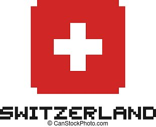 switzerland pixel flag symbol