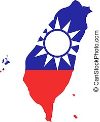 Taiwan flag and map