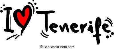 Creative design of Tenerife love
