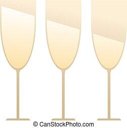 three elegant champagne glasses