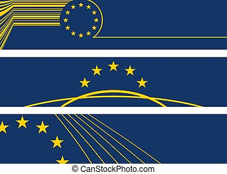 three europe style banners