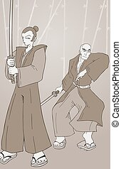 Two vintage samurai
