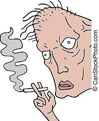 ugly man smoking - Creative design of ugly man smoking