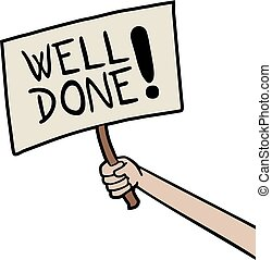 Well done message - Creative design of Well done message