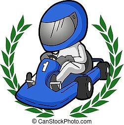 winner cartoon karting illustration - Creative design of...