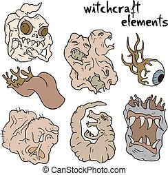 witchcraft elements set - Creative design of witchcraft...