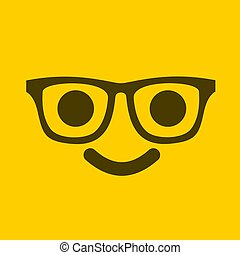 yellow face with glasses