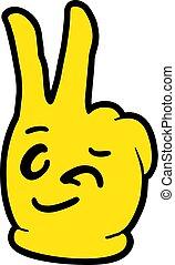 yellow happy hand illustration
