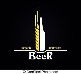 Creative design organic premium beer emblem. Vector illustration