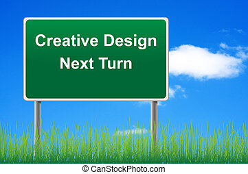 Creative design signpost on sky background, grass underneath.