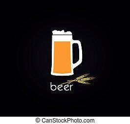 Creative design with beer mug. Vector illustration