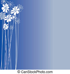 Creative design with flowers on a blue background