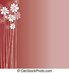 Creative design with flowers on a burgundy background