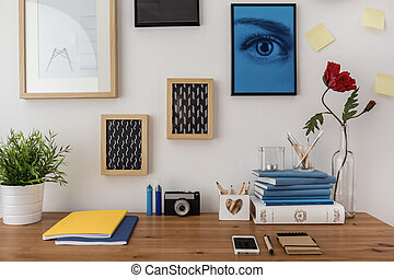 Creative designed desk in modern stylish study room
