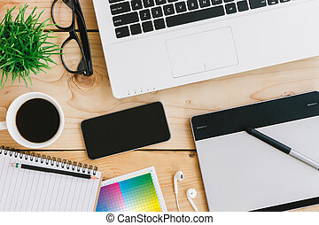 creative designer desk on top view