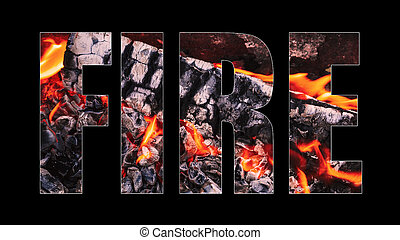 Creative designer lettering Fire on black background