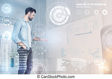 Creative designer smiling while working at home
