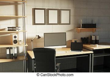 Creative designer workplace side