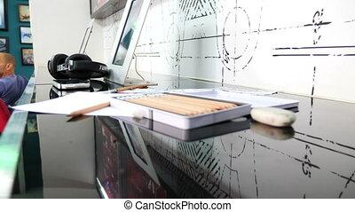 Creative desktop of young artist - Creative desktop of multi...