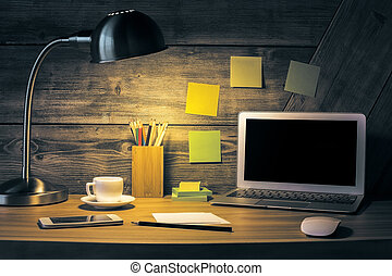 Creative desktop with laptop - Creative desktop with blank ...