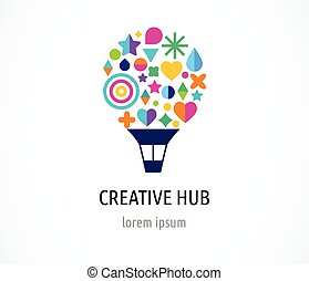 Creative, digital abstract and children style colorful icon of hot air balloon with colorful happy icons, symbols